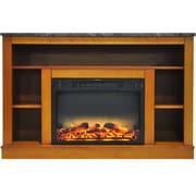 Charlton Home Eudora Modern Electric Fireplace; Teak