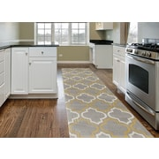 Charlton Home Freeman Gray / Yellow Area Rug; Runner 2' x 7'2''