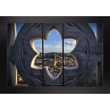 East Urban Home 'Over the Tower' Photographic Print; Black Wood Large Framed Paper