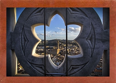 East Urban Home 'Over the Tower' Photographic Print; Canadian Walnut Wood Medium Framed Paper