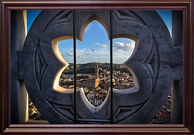 East Urban Home 'Over the Tower' Photographic Print; Cherry Wood Grande Framed Paper