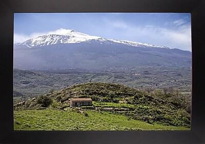 East Urban Home 'Quiet Mount Etna' Photographic Print; Black Wood Large Framed Paper