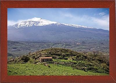 East Urban Home 'Quiet Mount Etna' Photographic Print; Red Mahogany Wood Medium Framed Paper