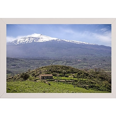East Urban Home 'Quiet Mount Etna' Photographic Print; White Wood Medium Framed Paper