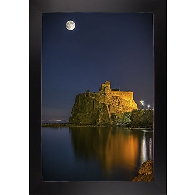 East Urban Home 'Under the Moon' Photographic Print; Black Wood Large Framed Paper