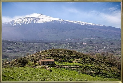 East Urban Home 'Quiet Mount Etna' Photographic Print; Gold Metal Framed Paper