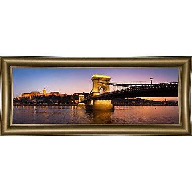 East Urban Home 'Panorama Budapest Chain Bridge' Photographic Print; Bistro Gold Framed Paper