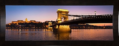 East Urban Home 'Panorama Budapest Chain Bridge' Photographic Print; Black Wood Medium Framed Paper