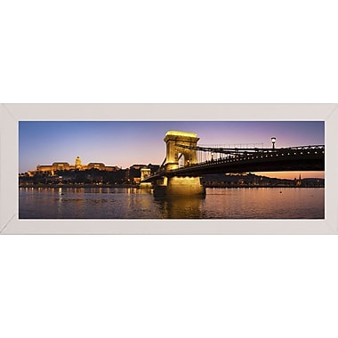 East Urban Home 'Panorama Budapest Chain Bridge' Photographic Print; White Wood Medium Framed Paper