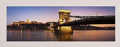 East Urban Home 'Panorama Budapest Chain Bridge' Photographic Print; White Wood Medium Framed Paper
