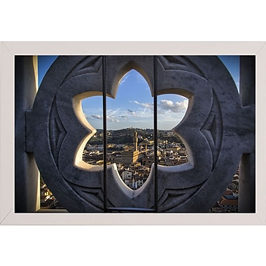 East Urban Home 'Over the Tower' Photographic Print; White Wood Medium Framed Paper