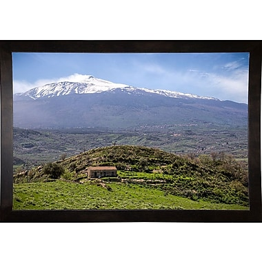 East Urban Home 'Quiet Mount Etna' Photographic Print; Cafe Espresso Wood Framed Paper
