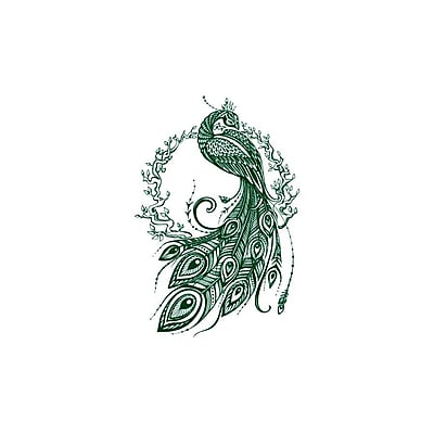 Decal House Peacock Bedroom Decor Wall Decal; Green