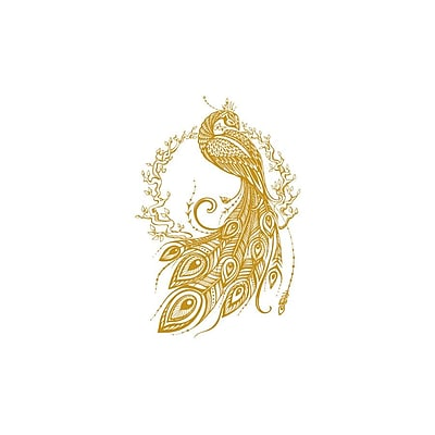 Decal House Peacock Bedroom Decor Wall Decal; Gold