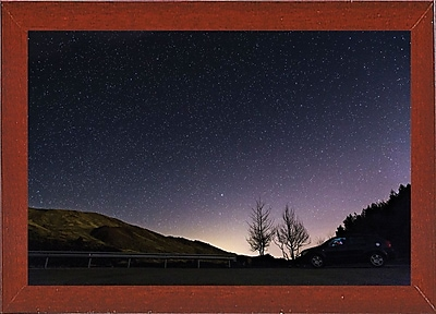 Charlton Home 'Starry Night' Photographic Print; Red Mahogany Wood Medium Framed Paper