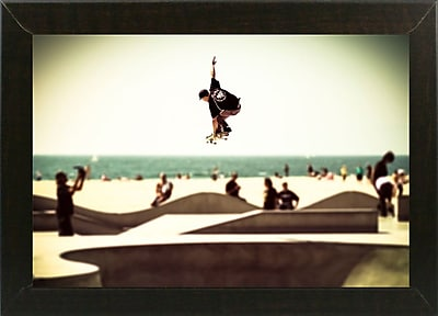 Ebern Designs 'The Great Jump' Photographic Print; Brazilian Walnut Wood Medium Framed Paper