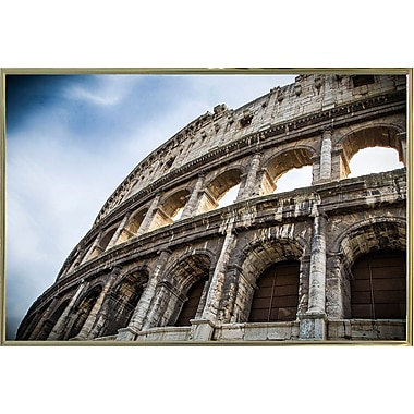 Ebern Designs 'Colosseo' Photographic Print; Gold Metal Framed Paper