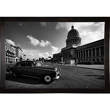 Ebern Designs 'Old Car Black and White' Photographic Print; Cafe Espresso Wood Framed Paper