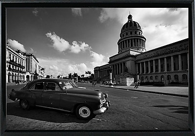 Ebern Designs 'Old Car Black and White' Photographic Print; Black Metal Framed Paper
