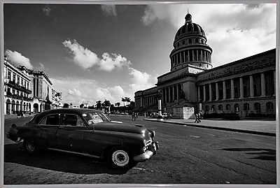 Ebern Designs 'Old Car Black and White' Photographic Print; White Metal Framed Paper