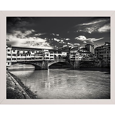 Ebern Designs 'Letters From Florence 1' Photographic Print; White Wood Medium Framed Paper