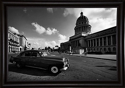 Ebern Designs 'Old Car Black and White' Photographic Print; Bistro Expresso Framed Paper