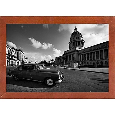 Ebern Designs 'Old Car Black and White' Photographic Print; Canadian Walnut Wood Medium Framed Paper