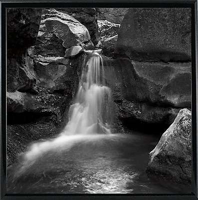 Ebern Designs 'Silent Stream Black and White' Photographic Print; Black Metal Framed Paper