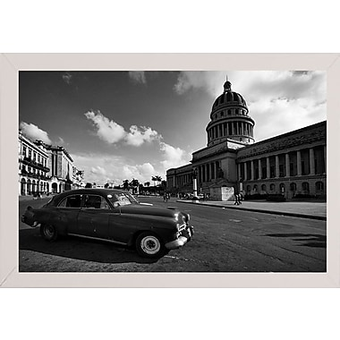 Ebern Designs 'Old Car Black and White' Photographic Print; White Wood Medium Framed Paper
