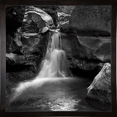 Ebern Designs 'Silent Stream Black and White' Photographic Print; Cafe Espresso Wood Framed Paper