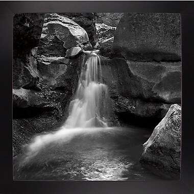 Ebern Designs 'Silent Stream Black and White' Photographic Print; Black Wood Large Framed Paper