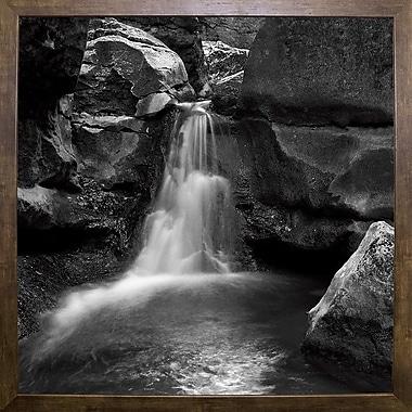 Ebern Designs 'Silent Stream Black and White' Photographic Print; Cafe Mocha Framed Paper