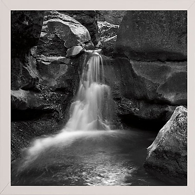 Ebern Designs 'Silent Stream Black and White' Photographic Print; White Wood Medium Framed Paper