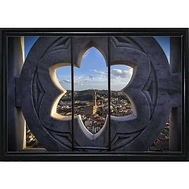 East Urban Home 'Over the Tower' Photographic Print; Black Metal Flat Framed Paper