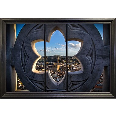 East Urban Home 'Over the Tower' Photographic Print; Black Wood Grande Framed Paper