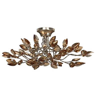 Everly Quinn Bosley 4-Light Semi-Flush Mount; Antique Gold / Champagne