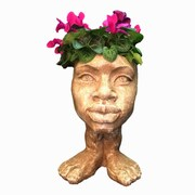 HomeStyles Muggly The Face Auntie Kayla Statue Planter; Stone Wash
