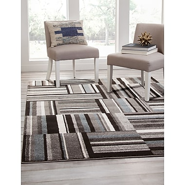 Ivy Bronx Brissette Black/Gray Area Rug; Rectangle 8' x 10'
