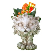 HomeStyles Muggly Scruffy the Cat Animal Statue Planter; Antique White