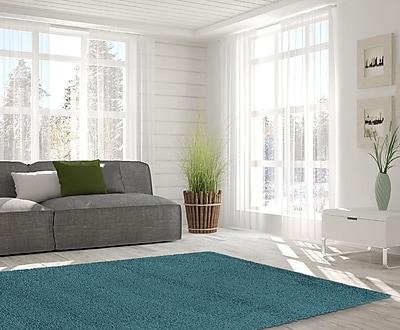 Orren Ellis Kleiman Shaggy Solid Turquoise Area Rug; 8' x 10'