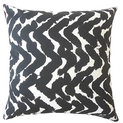 Orren Ellis Kitson Zigzag Down Filled 100pct Cotton Lumbar Pillow; Black