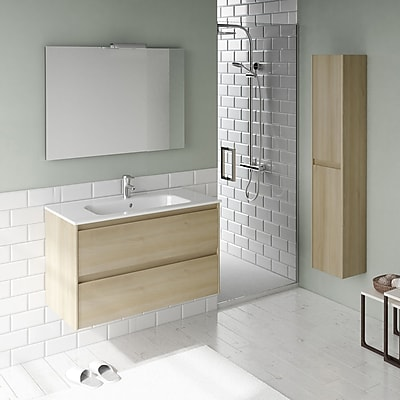 WS Bath Collections Ambra 40'' Single Bathroom Vanity Set w/ Column and Mirror; Nordic Oak