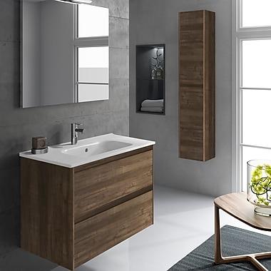 WS Bath Collections Ambra 24'' Single Bathroom Vanity Set w/ Column and Mirror; Samara Ash