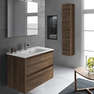 WS Bath Collections Ambra 32'' Single Bathroom Vanity Set w/ Column and Mirror; Samara Ash