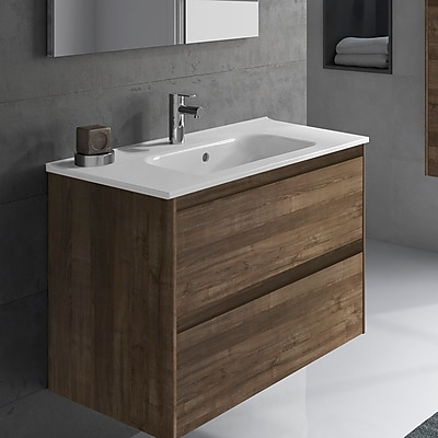 WS Bath Collections Ambra 40'' Single Bathroom Vanity Set; Samara Ash
