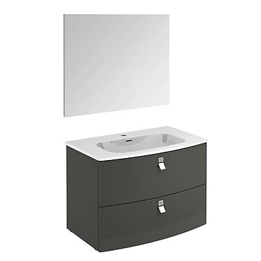 WS Bath Collections Rondo 32'' Single Bathroom Vanity Set w/ Mirror; Anthracite