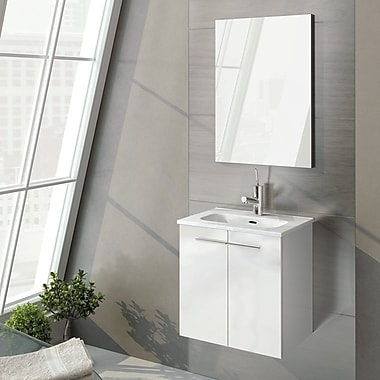 WS Bath Collections Start 20'' Single Bathroom Vanity Set w/ Mirror; Gloss White