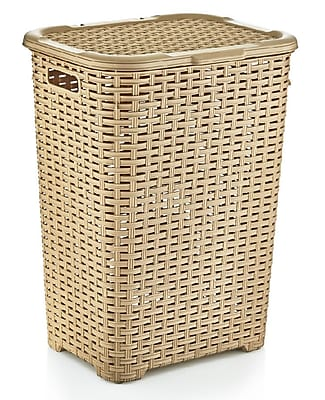 Rebrilliant Wicker Laundry Hamper; Beige