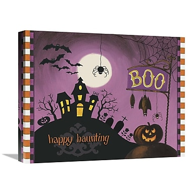 East Urban Home 'Happy Haunting Boo' Graphic Art Print on Canvas; 20'' H x 24'' W