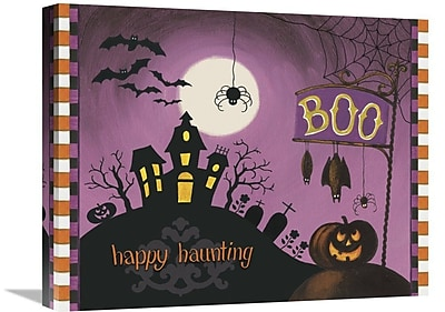 East Urban Home 'Happy Haunting Boo' Graphic Art Print on Canvas; 28'' H x 35'' W